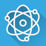 Atom flat linear long shadow icon. Atomic structure model. Physics sign. Vector line symbol Stock Images