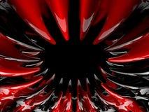 Atom- form för abstrakt begrepp swirly på svart bakgrund 3d Arkivbild