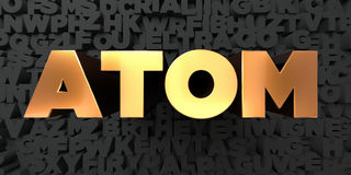 Atom - Gold text on black background - 3D rendered royalty free stock picture Royalty Free Stock Image