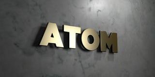 Atom - Goldzeichen angebracht an der glatten Marmorwand - 3D übertrug freie Illustration der Abgabe auf Lager Stockbild