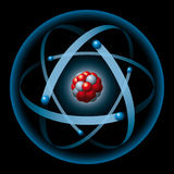 Atom having nucleus and electrons. Atom with blue electron shell, blue electrons, red protons and gray neutrons on a black background. The electrons produce the Stock Image