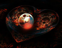 Atom heart. Igure of a heart-shaped, with a fantastic design on a black background. Fractal. Apophysis Stock Photo