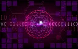 Atom HUD à l'arrière-plan pourpre avec des nombres Vecteur Image stock