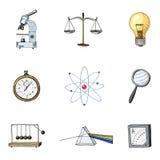 Atom i graniastosłup z wieczystym ruchem, kompasem i lightbulb, grawerująca ręka rysująca w starych nakreślenia i rocznika symbol Obrazy Royalty Free