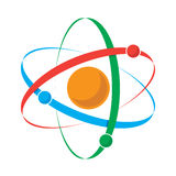 Atom icon. Vector illustration of an atom with nucleus and three orbiting particles stock illustration