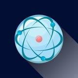 Atom icon with long shadow. Atom icon. Molecule icon. Atomic orbitals, electrons, protons, neutrons. Atom icon vector. Atom icon eps. Atom icon blue. Atom icon Royalty Free Stock Photos