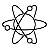 Atom icon with orbits the nucleus and electrons rotating illustration. Atom icon with orbits the nucleus and electrons rotating of illustration royalty free illustration