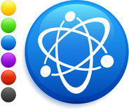 Atom icon on round internet button Stock Photos