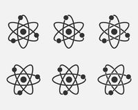 Atom icon set. Nuclear icon. Electrons and protons. Science sign. Molecule Icon  on grey background. Vector illustration. Eps 10 Stock Image