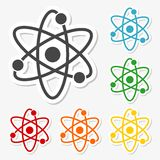 Atom icon stickers set Royalty Free Stock Images