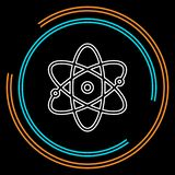 Atom icon, atom vector symbol, chemistry and science research royalty free illustration