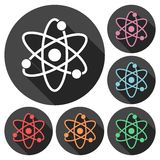 Atom icons set with long shadow Stock Photography