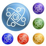Atom icons set vector royalty free illustration