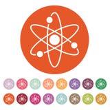 Atom ikona Atomu symbol mieszkanie Fotografia Royalty Free