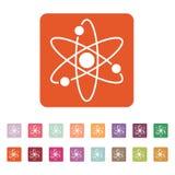 Atom ikona Atomu symbol mieszkanie Obrazy Royalty Free