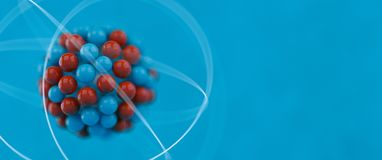 Atom. Illustration over blue background Stock Photography