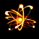 Atom image. Image of color atoms and electrons. Physics concept Royalty Free Stock Images