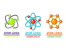 Atom logo set in flat style. Microscopic nuclear particle. Vector illustration Stock Image