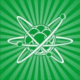 Atom mit Kern der Protone und der Elektronen Stockbilder