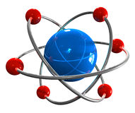 Atom model. 3D model of atom isolated over white background Stock Photos