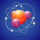 Atom Model. 3D Realistic Atom Model, vector icon on blue background Stock Image