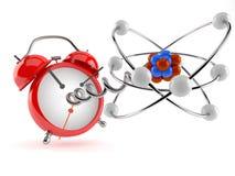 Atom model with alarm clock. Isolated on white background. 3d illustration Stock Photo