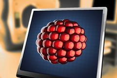 Atom model on blue background at monitor. 3D rendered Royalty Free Stock Photos
