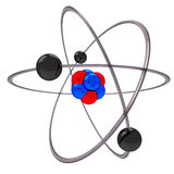Atom model. 3d atomic structure model with spinning electrons over nucleus Royalty Free Stock Photo