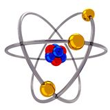 Atom model. 3d atomic structure model with spinning electrons over nucleus Royalty Free Stock Image