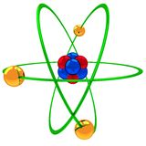 Atom model. 3d atomic structure model with spinning electrons over nucleus Stock Photos