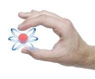 Atom model in the hand Stock Photography