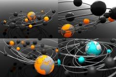 Atom modelo com globo - grupo das ilustrações 3D Fotografia de Stock Royalty Free