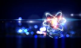 Atom molecule as concept for science. Atom molecule on night city background as science concept. 3d rendering vector illustration