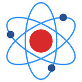 Atom molecule biology science structure icon Stock Photo