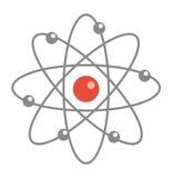 Atom molecule icon, flat, cartoon style. Isolated on white background. Vector illustration. Royalty Free Stock Images