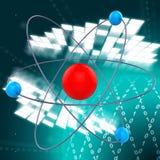 Atom Molecule Indicates Chemist Formula e prodotto chimico Fotografia Stock