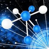 Atom Molecule Indicates Research Chemical y química ilustración del vector