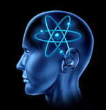 Atom molecule science symbol brain. Atom molecule and science symbol in a human head representing a scientific mind stock illustration