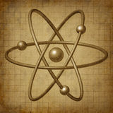 Atom molecule science symbol grunge. Atom molecule science symbol in a grunge vintage old parchment document royalty free illustration