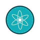 Atom molecule structure model blue circle. Vector illustration eps 10 royalty free illustration