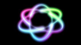 Atom multi color, seamless loop, stock footage Royalty Free Stock Photo