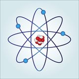 Atom with necleus and protons. Atom :  necules at center and electrons ('an elementary particle that is a fundamental constituent of matter) orbiting Stock Image