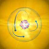 Atom with nucleus, atomic shell and orbiting electrons on a yellow background. Illustration of an atom with blue and red nucleus, transparent atomic shell and Royalty Free Stock Photos