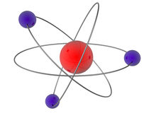 Atom nucleus and electrons. Graphic of a single atom nucleus and orbiting electrons Stock Image