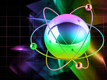 Atom On Abstract Background Stock Photo