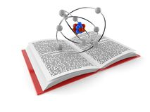 Atom on open book. On white background. 3d illustration Stock Images
