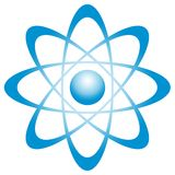 Atom with orbit. Illustration of an atom. This can be as well a center with orbits around Royalty Free Stock Images