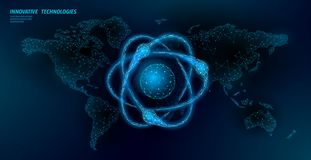 Atom particle sigh on world map. Nuclear military weapons global danger. Atonic power defence country security. Nuke arm. International violence treaty concept royalty free illustration