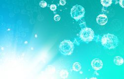 Atom particles. Atom particles over blue background with shining sparks. Vector illustration Stock Photography