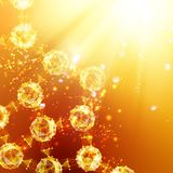 Atom particles. Atom particles over orange background with shining sparks. Vector illustration Royalty Free Stock Photo